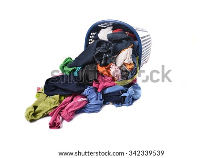 The dried clothes in the basket - stock photo
