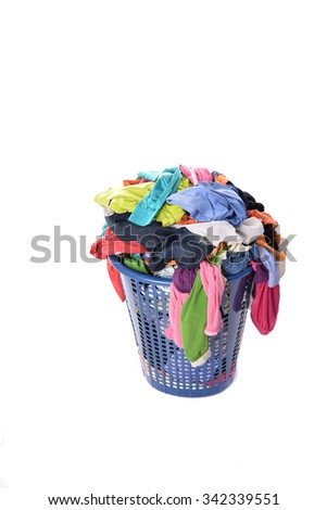 The dried clothes in the basket