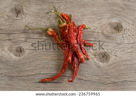 The dried peppers closeup composition - stock photo