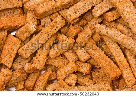 The dried slices of black bread, background