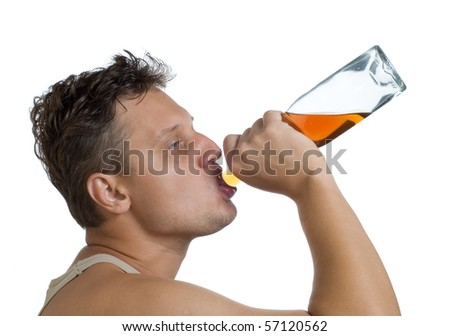 The drinking man - stock photo