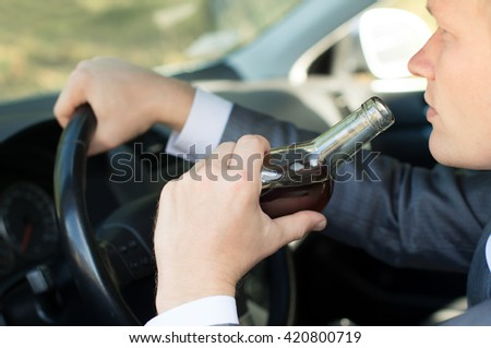 The driver of drinking and driving - stock photo