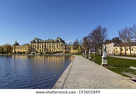 The Drottningholm Palace is the private residence of the Swedish royal family in Stockholm, Sweden - stock photo