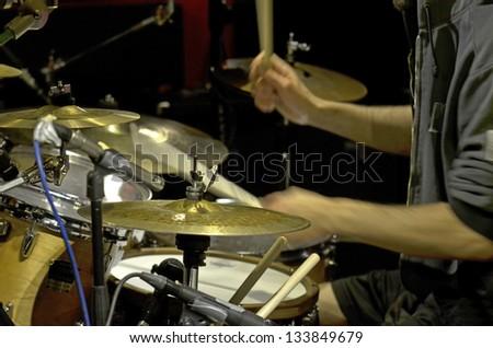 The drummer in studio - stock photo