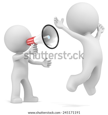 The dude 3D character shouting in Megaphone at colleague. - stock photo