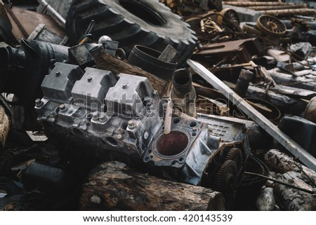 The dump trucks parts, engine block. - stock photo