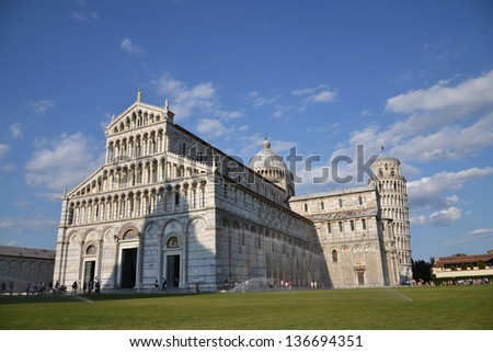 The Duomo and the Leaning Tower of Pisa, Cathedral Square in Pisa, Italy.