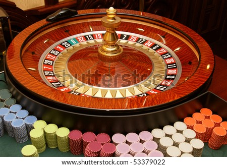 The dynamic roulette in casino - stock photo