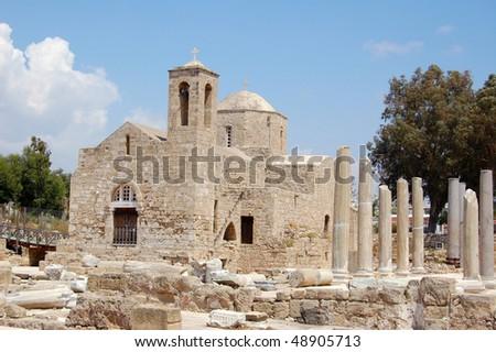 The early christian basilica of panayia chrysopolitissa (Ayia Kyriaki) - stock photo