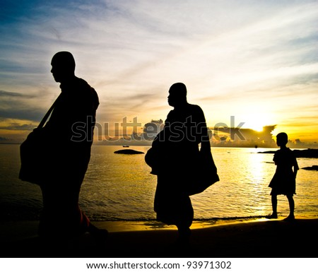The early morning alms,Thailand - stock photo