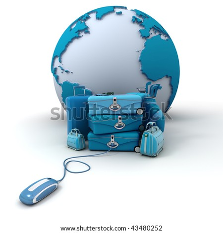The Earth, a pile of luggage including suitcases, briefcases, golf bag, connected to a computer mouse in blue shades - stock photo