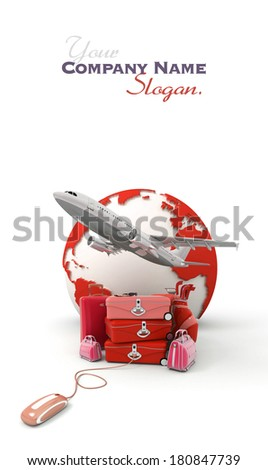The Earth, a plane taking off, a pile of luggage including suitcases, briefcases, golf bag, connected to a computer mouse in red  - stock photo
