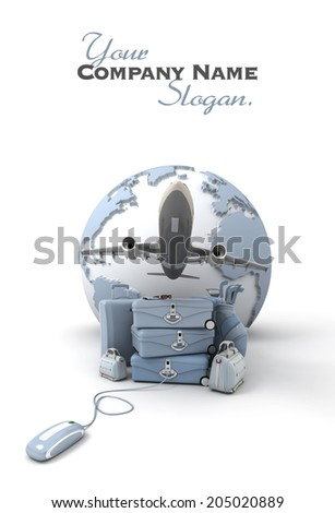 The Earth, a plane taking off, a pile of luggage including suitcases, briefcases, golf bag, connected to a computer mouse in pale blue shades  - stock photo
