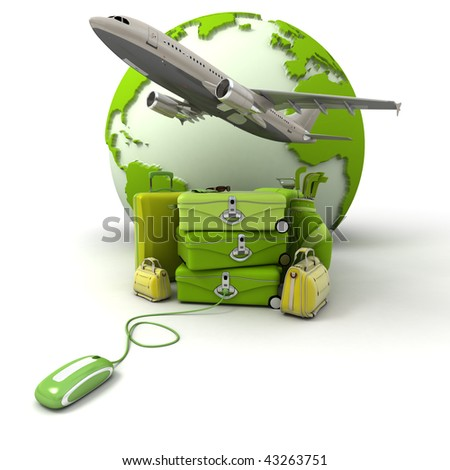 The Earth, a plane taking off, a pile of luggage including suitcases, briefcases, golf bag, connected to a computer mouse in green and yellow shades - stock photo