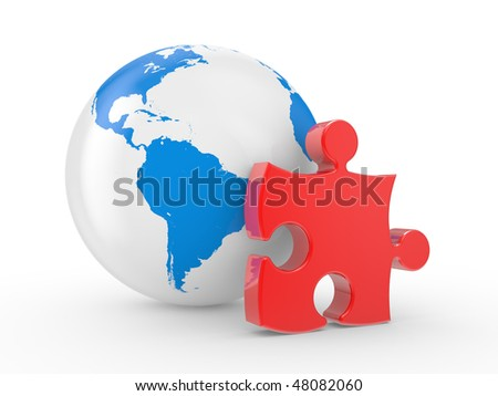 The earth and puzzles on a white background