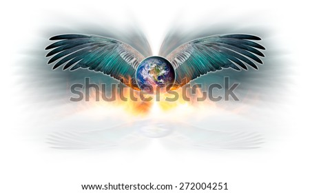 The earth and spread out bird wing in the act of flying escape fire blaze, Concept of Global warming, Elements of this image furnished by NASA - stock photo