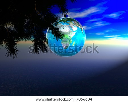 The Earth as a Christmas ornament map courtesy nasa - stock photo