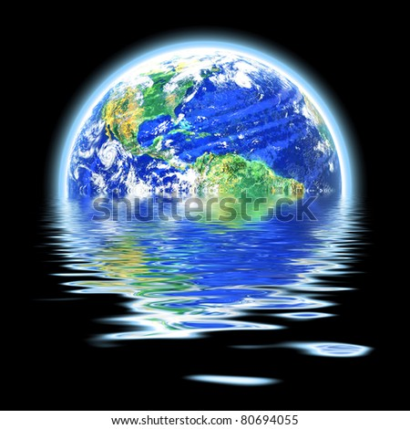 The earth floating in a pool of water that works great for flood concepts global warming or even the scuba diving and oceanography fields. Original earth photo courtesy of NASA. - stock photo