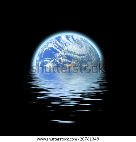 The earth floating in a pool of water - this works great to denote a flood or to represent the melting of the polar ice caps. - stock photo
