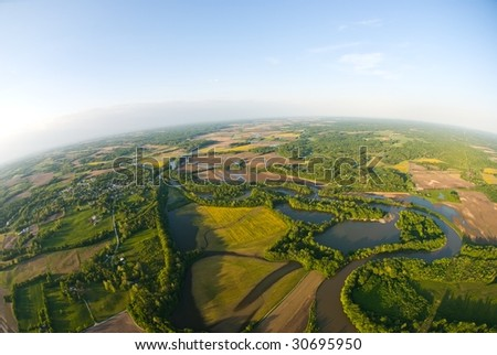 The Earth from a hot air balloon - stock photo