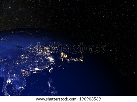 The Earth from space at night, with stars in the background. China. Elements of this image furnished by NASA. Other orientations available.  - stock photo
