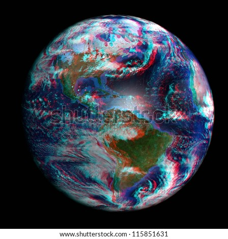 The Earth from space in 3D, showing North and South America. View anaglyph with red/cyan glasses. Extremely detailed image including elements furnished by NASA. - stock photo