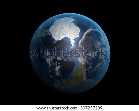 The Earth from space on a black background. Extremely detailed image including elements furnished by NASA. - stock photo