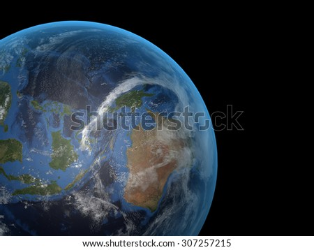 The Earth from space on a black background. Extremely detailed image including elements furnished by NASA, high resolution