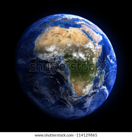 The Earth from space showing Africa. Extremely detailed image including elements furnished by NASA. Other orientations available. - stock photo