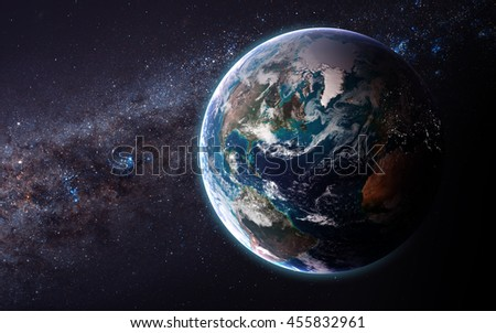 The Earth from space showing all they beauty. Extremely detailed image, including elements furnished by NASA. Other orientations and planets available. - stock photo