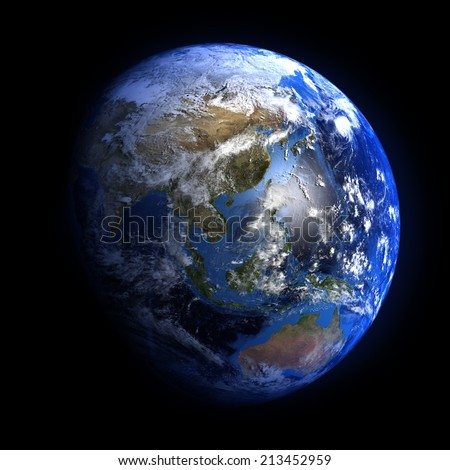 The Earth from space showing China and the far East. Elements of this image furnished by NASA. Other orientations available.  - stock photo