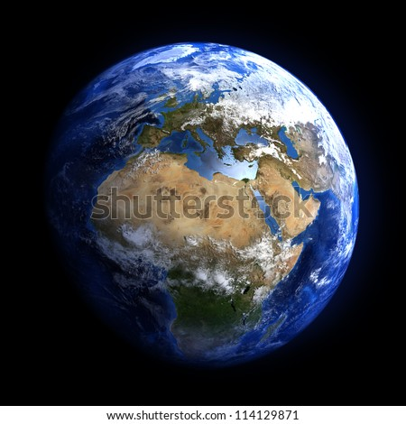 The Earth from space showing Europe and Africa. Extremely detailed image, including elements furnished by NASA. Other orientations available. - stock photo