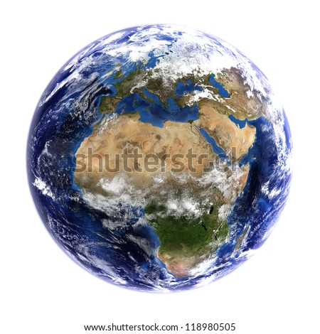 The Earth from space showing Europe and Africa, isolated on white. Other orientations available. Elements of this image furnished by NASA. - stock photo