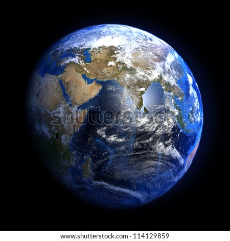 The Earth from space showing India and the Middle East. Extremely detailed image including elements furnished by NASA. Other orientations available. - stock photo