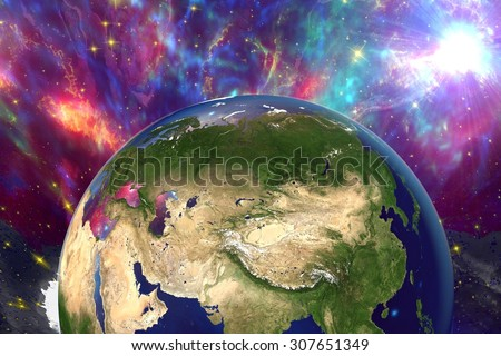 The Earth from space showing Russia, China, Asia on surrealistic background with stars and galaxies, elements of this image furnished by NASA, other orientations available - stock photo