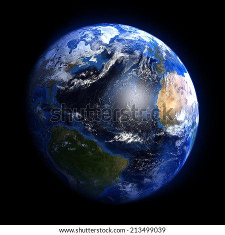 The Earth from space showing the Atlantic ocean. Elements furnished by NASA. Other orientations available.  - stock photo