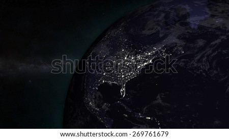 The Earth from space showing The United States- (Extremely detailed map furnished by NASA.) - stock photo