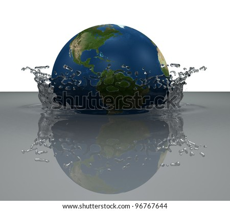 the earth globe falling into water, forming a crown splash - stock photo