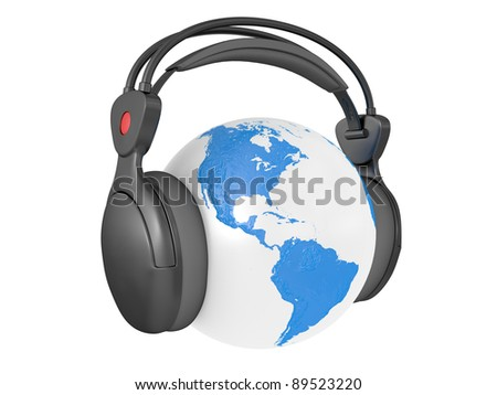 The Earth globe with audio headphones isolated on white