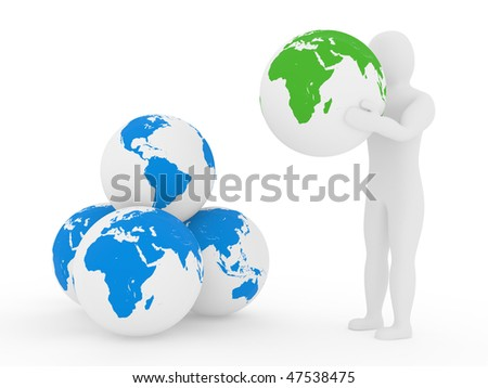 The Earth in arms of the person, the concept of preservation of the environment