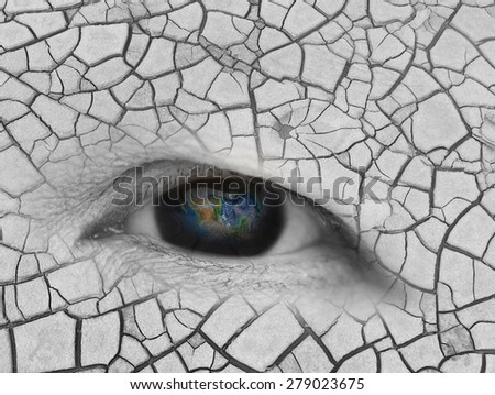 The earth in elderly women eye, global warming concept ,including elements furnished by NASA - stock photo