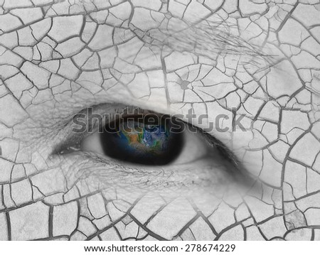 The earth in eldery women eye, global warming concept ,including elements furnished by NASA - stock photo