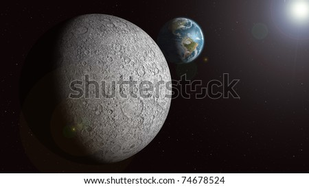 The Earth is seen rising over the sunlit moon - stock photo