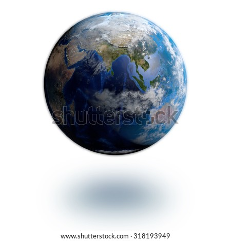 The Earth isolated in white background; Elements of this image are furnished by NASA - stock photo
