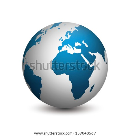 The earth isolated on white background - stock photo