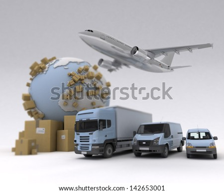 The Earth, lots of boxes and a transportation fleet made of vans, trucks and an airplane - stock photo