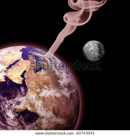 The Earth on fire with smoke and the moon (global warming concept) - stock photo