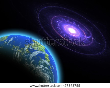 The Earth planet and galaxy in space: beautiful computer generated illustration. - stock photo