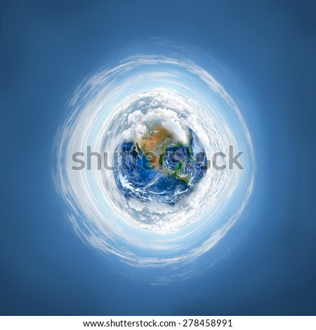 The earth planet with cloud. Elements of this image are furnished by NASA - stock photo
