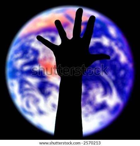 the Earth planet with my defender hand silhouette